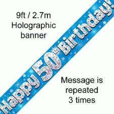 50th Happy Birthday Banner Blue Holographic (9 ft)