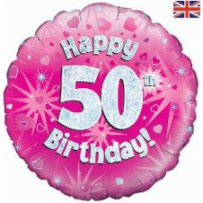 50th Happy Birthday Pink Holographic Balloon (18 Inches)