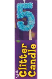 5th Birthday Blue Glitter Candle (Pack of 12)