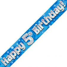 5th Happy Birthday Banner Blue Holographic (9 ft)