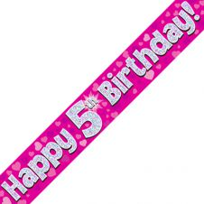 5th Happy Birthday Banner Pink Holographic (9 ft)
