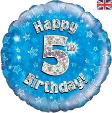 5th Happy Birthday Blue Holographic Balloon (18 Inches)