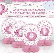 6 Inches UmbrellaPhants Pink Mini Honey Comb ( Pack of 4 )