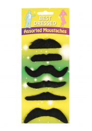 6 Assorted Black Mustache