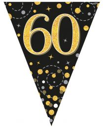 60th Sparkling Fizz Black & Gold Holographic Party Bunting 11 flags 3.9m