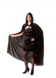 65 Inches Adult Black Velvet Hooded Cape (Carded)