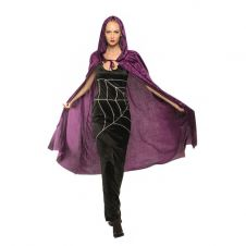 65 Inches Adult Purple Velvet Hooded Cape (Carded)