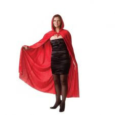 65 Inches Adult Red Velvet Hooded Cape (Carded)