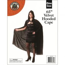 65 Inches Adult Black Velvet Hooded Cape (Loose)
