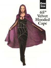 65 Inches Adult Purple Velvet Hooded Cape (Loose)