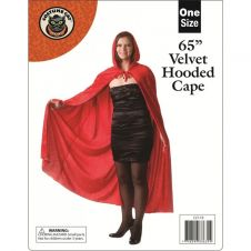65 Inches Adult Red Velvet Hooded Cape (Loose)