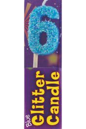 6th Birthday Blue Glitter Candle (Pack of 12)