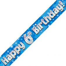 6th Happy Birthday Banner Blue Holographic (9 ft)
