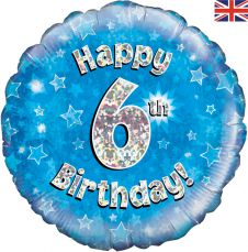 6th Happy Birthday Blue Holographic Balloon (18 Inches)