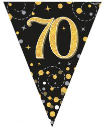 70th Sparkling Fizz Black & Gold Holographic Party Bunting 11 flags 3.9m