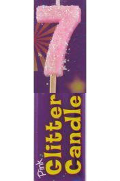 7th Birthday Pink Glitter Candle (Pack of 12)