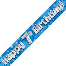7th Happy Birthday Banner Blue Holographic (9 ft)