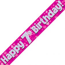 7th Happy Birthday Banner Pink Holographic (9 ft)