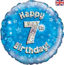 7th Happy Birthday Blue Holographic Balloon (18 Inches)