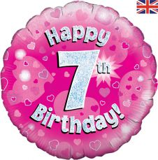 7th Happy Birthday Pink Holographic Balloon (18 Inches)