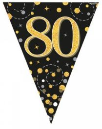80th Sparkling Fizz Black & Gold Holographic Party Bunting 11 flags 3.9m