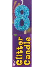 8th Birthday Blue Glitter Candle (Pack of 12)