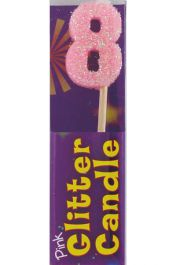 8th Birthday Pink Glitter Candle (Pack of 12)