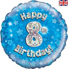 8th Happy Birthday Blue Holographic Balloon (18 Inches)