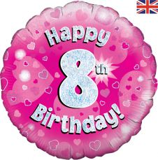 8th Happy Birthday Pink Holographic Balloon (18 Inches)
