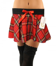 Crazy Chick Red Black Yellow Tartan Skirt with Red Bow (9 Inches)
