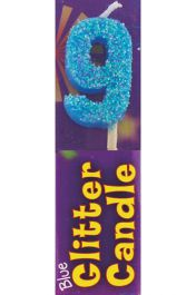 9th Birthday Blue Glitter Candle (Pack of 12)