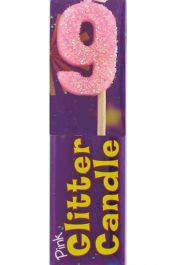 9th Birthday Pink Glitter Candle (Pack of 12)