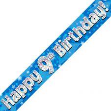9th Happy Birthday Banner Blue Holographic (9 ft)