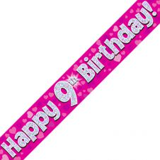 9th Happy Birthday Banner Pink Holographic (9 ft)