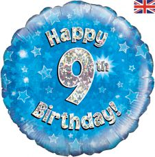 9th Happy Birthday Blue Holographic Balloon (18 Inches)