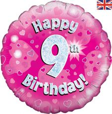 9th Happy Birthday Pink Holographic Balloon (18 Inches)