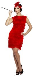 Adult Flapper Lady Red Costume With Tassles