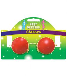 Adult Glasses Red  Lense With Gold Frame