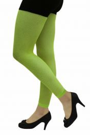 Ladies Neon Green Fishnet Footless Tights