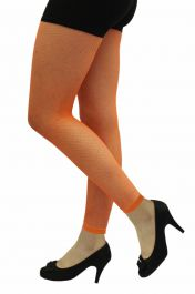 Ladies Neon Orange Fishnet Footless Tights