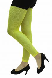 Ladies Neon Yellow Fishnet Footless Tights