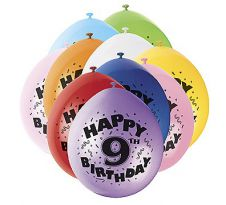 Age 9th Printed Balloons (Pack of 20)