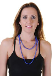Royal Blue Plastic Bead Necklaces (Approx 48 Inches)