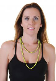 Neon Yellow Plastic Bead Necklaces (Approx 48 Inches)