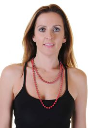 Red Plastic Bead Necklaces (Approx 48 Inches)