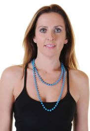 Turquoise Plastic Bead Necklaces(Approx 48 Inches)