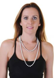 White Plastic Bead Necklaces (Approx 48 Inches)