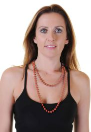 Neon Orange Plastic Bead Necklaces (Approx 48 inches)
