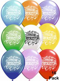 Assorted Birthday Balloons (Pack of 16)