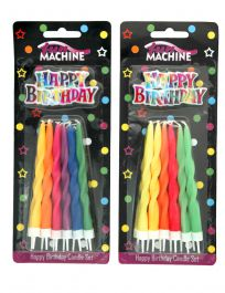 Assorted Curly Twist Birthday Candles (Pack of 12)